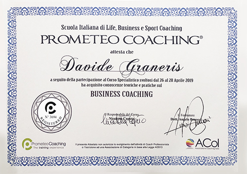 Attestato business coaching prometeo